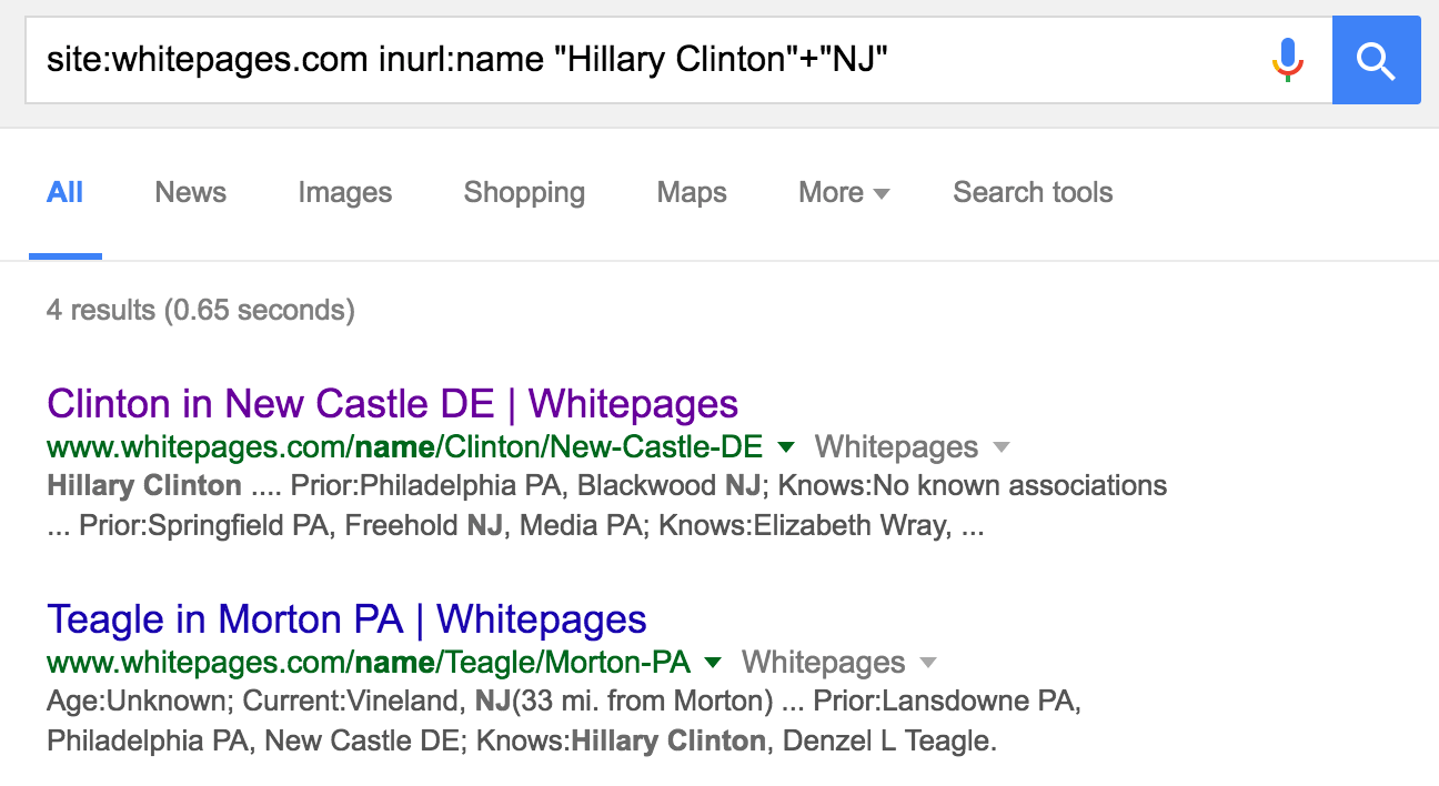 site whitepages inurl name hillary