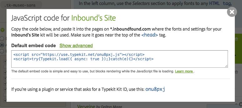 Typekit Kit's Embed Code