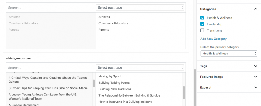 Relating content options for WP sites