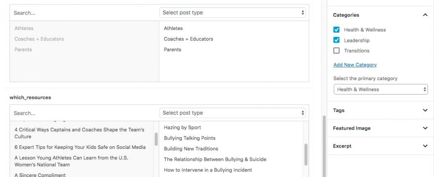 Buffet style content organization
